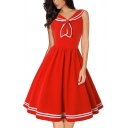 Popular Girls Contrast Striped Embroidery Pleated Zip Side Bow Tie Sailor Collar Sleeveless Midi Swing Dress