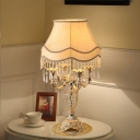 Bell Shade Bedroom Night Stand Light Traditional Fabric 4-Bulb Gold Table Lighting with Urn Crystal Base