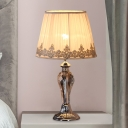 Gathered Empire Shade Bedroom Table Lamp Classic Fabric 1-Head Gold Night Light with Flower Brim