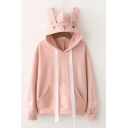Cute Rabbit Ears Cartoon Embroidered Long Sleeves Pullover Hoodie with Pocket