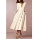 Formal Womens Plain Half Sleeve Deep V-neck Mid Pleated Flared Dress