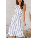 Popular Girls Stripe Printed Sleeveless Crew Neck Cut out Tied Waist Ruffled Mid A-line Work Dress