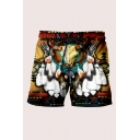 Casual Mens 3D Relax Shorts Tribal Bull Skull Feather Triangle Pattern Pocket Drawstring Straight Fit Mid Rise Mid Thigh Relax Shorts