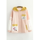 Preppy Looks Comic Japanese Embroidered Contrasted Long Sleeve Flap Pockets Zip Up Relaxed Jacket for Women