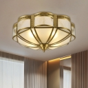 3/4 Bulbs Ceiling Lamp Colonial Flower-Like Opal Glass Flushmount Lighting in Brass, 14