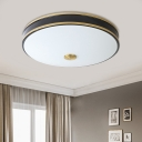 Round Living Room Flushmount Countryside White Glass LED Black/Gold Ceiling Fixture, 12