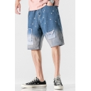 Simple Mens Jean Shorts Ombre Paint Splatter Pattern Patchwork Pocket Zipper Fly Mid Rise Fitted Jean Shorts