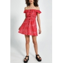 Pretty Girls Allover Flower Printed Off the Shoulder Ruffled Button-up Mini A-line Dress in Red