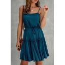 Gorgeous Ladies Solid Color Drawstring Pleated Ruffle Cuff Strap Sleeveless Short Slip Dress
