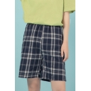Girls Classic Plaid Printed Elastic Waist Relaxed Fit Shorts in Black