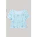 Ditsy Flower Patterned Stringy Selvedge Bell Short Sleeve Square Neck Regular Fit Crop Sexy Blouse Top in Blue