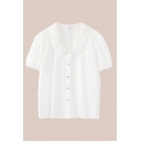 Fancy Ladies White Long Sleeve Lace Point Collar Pearl Button up Relaxed Fit Shirt