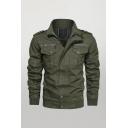 Basic Mens Casual Jacket Cuffed Zipper Detail Epaulette Flap Pockets Long Sleeve Regular Fit Casual Jacket
