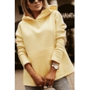 Stylish Ladies Solid Color Long Sleeve Pouch Pocket Loose Hoodie