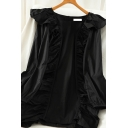 Girls Plain Zipped Back Ruffle Trim Square Neck Long Puff Sleeve Short A-Line Boutique Dress
