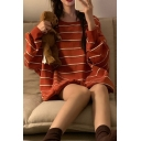 Classic Striped Print Round Neck Full Sleeve Loose Fit Tunic Pullover Sweatshirt