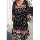 Pretty Ethnic Girls' Long Sleeve V-Neck Button Front All Over Floral Midi A-Line Dress in Navy