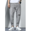 Vintage Mens Grey Jeans Light Wash Ripped Patched Rolled Cuffs Zipper Fly Ankle Length Regular Fit Tapered Jeans