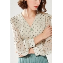 Green Unique Womens All over Printed Pleated Ruffled Button Up V Neck Long Sleeve Regular Fit Shirt