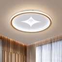 Black/Gold LED Ceiling Flush Mount Round Simple Metal Flush Lamp with Doji Design in Warm/White Light, 16