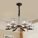 Drum Shade Chandelier Light Contemporary Clear Crystal 6/8 Bulbs Bedroom Ceiling Hang Fixture in Black