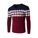 Mens Stylish Colorblock Long Sleeve V-Neck Slim Fit Knitted Argyle Sweater