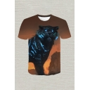 Novelty Mens 3D Tee Top Tiger Stone Painting Round Neck Regular Fit Short Sleeve Tee Top