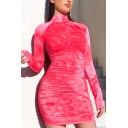 Sexy Tie Dye Long Sleeve Stand Collar Zip up Mini Tight Dress in Rose Red