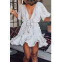 Casual Snake Printed Short Sleeve Plunging Neck Bow Tied Ruffled Hem Short A-line Dress in White