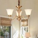 3/5 Lights Bell Pendant Ceiling Light Colonial Brass Frosted Glass Hanging Lamp Kit for Living Room