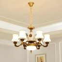 6/8 Bulbs Ceiling Pendant with Cone Shade Milk Glass Traditional Bedroom Hanging Light Fixture in Brass