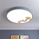 Circular Ceiling Mounted Light Modernist Acrylic LED Sleeping Room Flush Lamp with Dolphin Deco in Grey
