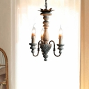 Wood Candlestick Hanging Chandelier French Country 3 Lights Living Room Pendant in Grey