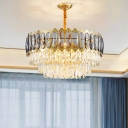 Prismatic Crystal Silver Chandelier Layered 6 Bulbs Contemporary Hanging Light Kit for Living Room