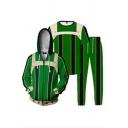 Popular Geometric 3D Print Contrasted Long Sleeve Zip up Drawstring Loose Hoodie & Tee & Long Sweatpants Set in Green