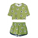Popular Womens Chinese Letter Geometric 3D All over Print Short Sleeve Crew Neck Relaxed Crop Tee & Contrasted Shorts Set
