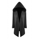 Unique Solid Color Long Sleeve Hooded Open Front Asymmetric Hem Long Loose Fit Cosplay Cape