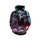 Casual 3D Hooded Sweatshirt Skull Sword House Pattern Pocket Drawstring Long Sleeve Regular Fitted Hoodie for Men
