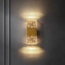 Simple Rectangle Wall Light Clear Seedy Crystal LED Wall Sconce in Brass for Bedroom