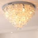Cone Clear Crystal Circles Flushmount Modernism 12-Head Living Room Ceiling Flush Light