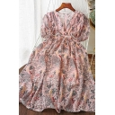 Stylish Womens Ditsy Floral Printed Patched Lace Trim Zip Back Pleated V Neck Short Puff Sleeve Short Swing Dress