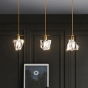 Clear Crystal Tapered Cluster Pendant Postmodern 3-Light Dining Room Hanging Lamp in Brass