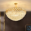 Gold Dome Shaped Chandelier Light Modern Crystal 5/7-Bulb Living Room Suspended Lighting Fixture