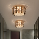 Cylinder Flush Mount Lighting Modern Style Faceted Crystal 3-Bulb Clear Close to Ceiling Lamp for Hallway