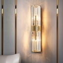 Clear Crystal Cylinder Wall Mounted Lamp Traditional 2-Light Bedroom Sconce Wall Sconce in Gold
