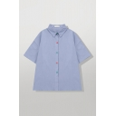 Simple Blue Solid Color Button Up Turn Down Collar Half Sleeve Relaxed Shirt for Girls