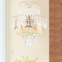 Mid Century Layered Tapered Chandelier 3-Light Clear Crystal Hanging Pendant Light in Gold
