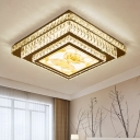 Lotus Flushmount Lighting Contemporary Bevel Cut Glass LED Stainless-Steel Close to Ceiling Lighting with Round Shade