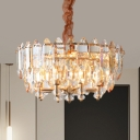 Gold Drum-Shaped Pendant Chandelier Modern Style Crystal Block 8-Lights Down Lighting for Dining Room