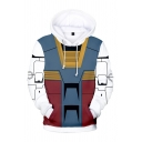 Mobile Suit Gundam New Stylish 3D Colorblock Cosplay Costume Zip Up Loose Relaxed Blue and Red Hoodie